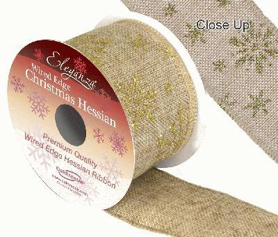 Eleganza Hessian Wired Edge Snow Flake Gold 10yds x 63mm - Christmas Ribbon