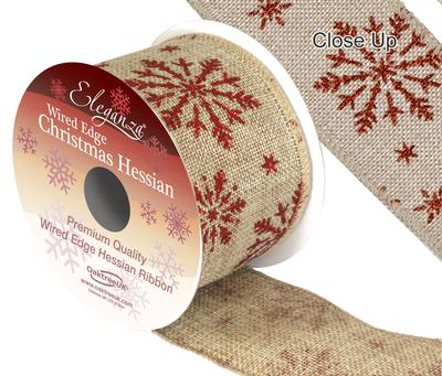 Eleganza Hessian Wired Edge Snow Flake Red 10yds x 63mm - Christmas Ribbon