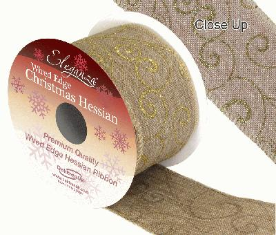 Eleganza Hessian Wired Edge Filigree Gold 10yds x 63mm - Christmas Ribbon