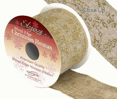 Eleganza Hessian Wired Edge Holly Gold 10yds x 63mm - Christmas Ribbon