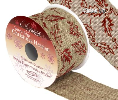Eleganza Hessian Wired Edge Holly Red 10yds x 63mm - Christmas Ribbon