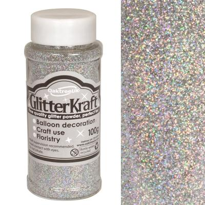 Glitter Kraft Fine Glitter 100g Bottle Holographic Silver - Craft