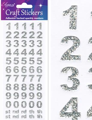 Eleganza Craft Stickers Bold Number Set Silver No.66 - Craft