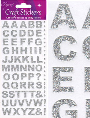 Eleganza Craft Stickers Bold Alphabet Set Silver No.66 - Craft