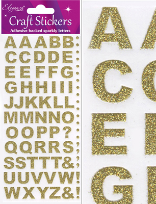 Eleganza Craft Stickers Bold Alphabet Set Gold No.65 - Craft