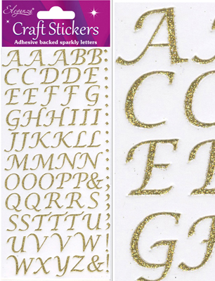 Eleganza Craft Stickers Stylised Alphabet Set Gold No.65 - Craft