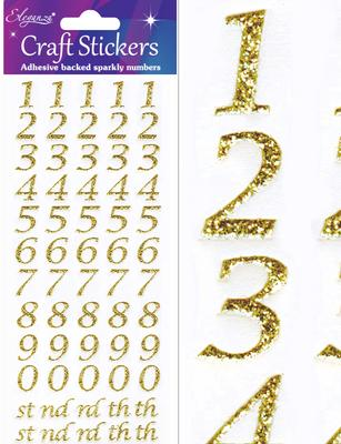 Stylised Numbers Gold - Craft