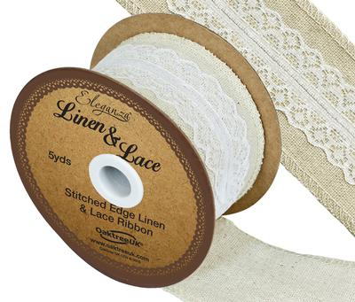 Linen and Lace Stitched Edge Pattern No.354 50mm x 5yds White No.01 - Ribbons