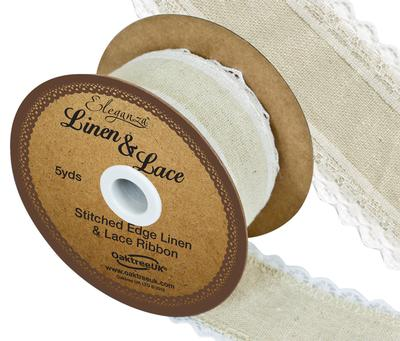 Linen and Lace Stitched Edge Pattern No.355 38mm x 5yds White No.01 - Ribbons