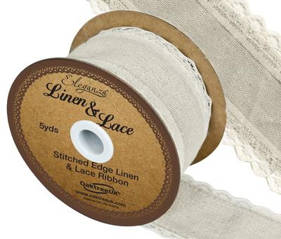 Linen and Lace Stitched Edge Pattern No.355 38mm x 5yds Ivory No.61 - Ribbons