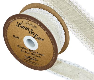 Linen and Lace Stitched Edge Pattern No.356 50mm x 5yds White No.01 - Ribbons