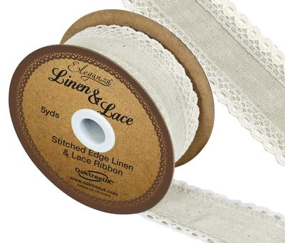 Linen and Lace Stitched Edge Pattern No.356 50mm x 5yds Ivory No.61 - Ribbons