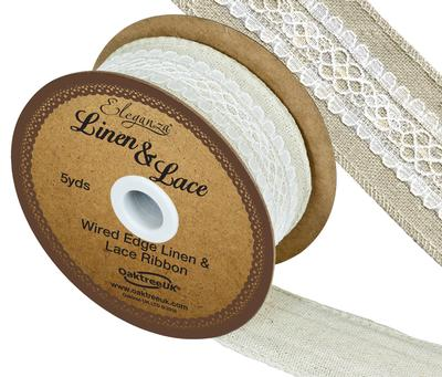 Linen and Lace Wired Edge Pattern No.353 38mm x 5yds White No.01 - Ribbons