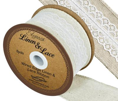 Linen and Lace Wired Edge Pattern No.354 50mm x 5yds White No.01 - Ribbons