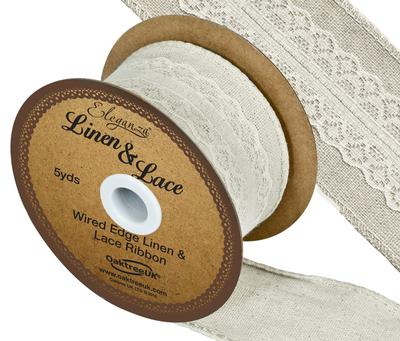 Linen and Lace Wired Edge Pattern No.354 50mm x 5yds Ivory No.61 - Ribbons