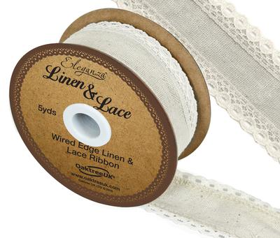 Linen and Lace Wired Edge Pattern No.356 50mm x 5yds Ivory No.61 - Ribbons