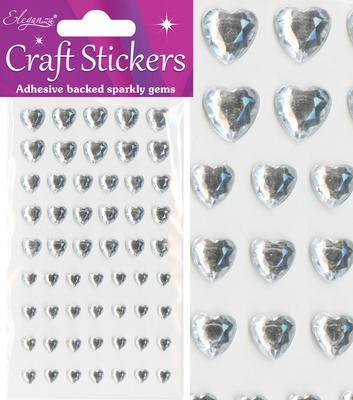 Eleganza Craft Stickers Mixed Diamante hearts 6mm-10mm Clear/Silver No.43 - Craft