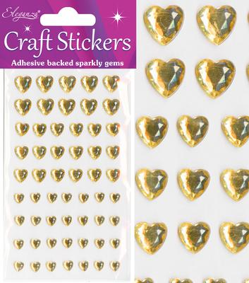 Eleganza Craft Stickers Mixed Diamante hearts 6mm-10mm Gold No.35 - Craft