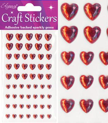 Eleganza Craft Stickers Mixed Diamante hearts 6mm-10mm Red No.16 - Craft