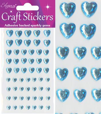 Eleganza Craft Stickers Mixed Diamante hearts 6mm-10mm Pearl Blue No.25 - Craft