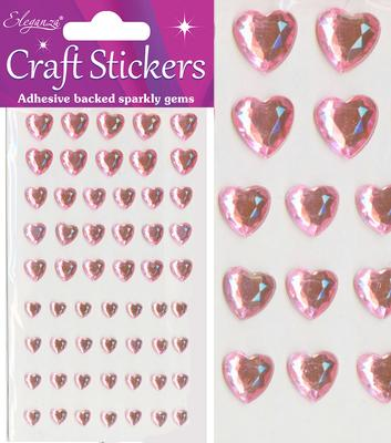 Eleganza Craft Stickers Mixed Diamante hearts 6mm-10mm Pearl Pink No.21 - Craft