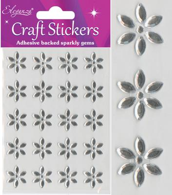 Eleganza Craft Stickers Large Flower x 20pcs Clear/Silver No.43 - Craft
