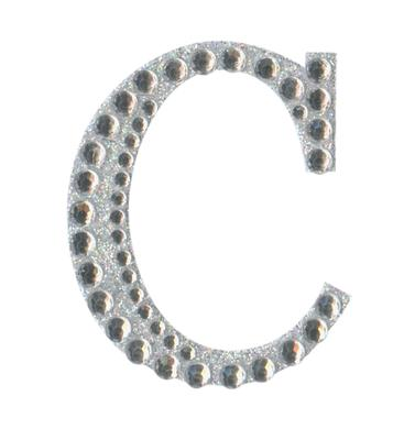 Eleganza Craft Stickers 50mm Letter C with Diamante Iridescent No.42 - Craft