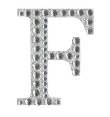 Eleganza Craft Stickers 50mm Letter F with Diamante Iridescent No.42 - Craft