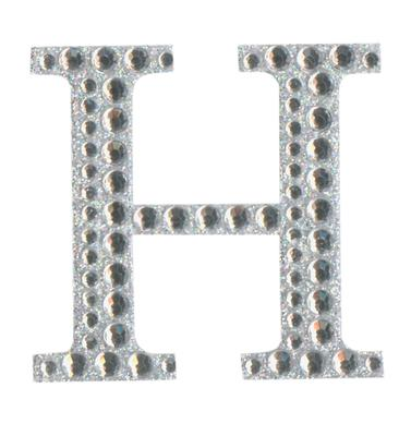 Eleganza Craft Stickers 50mm Letter H with Diamante Iridescent No.42 - Craft