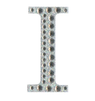 Eleganza Craft Stickers 50mm Letter I with Diamante Iridescent No.42 - Craft