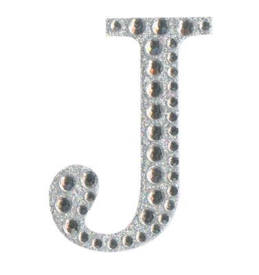 Eleganza Craft Stickers 50mm Letter J with Diamante Iridescent No.42 - Craft