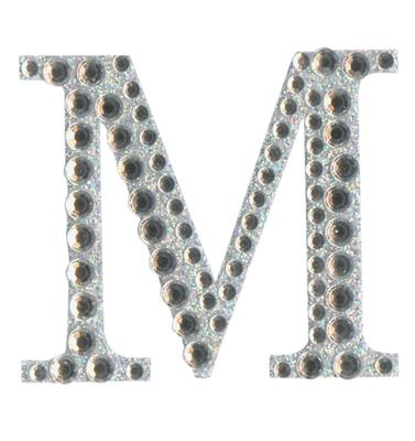 Eleganza Craft Stickers 50mm Letter M with Diamante Iridescent No.42 - Craft