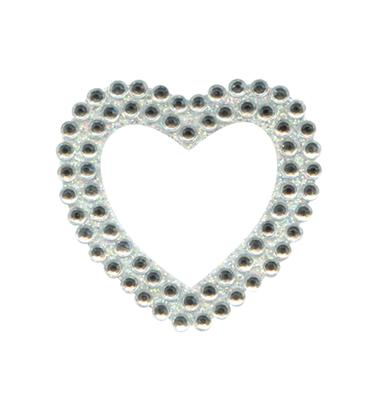 Eleganza Craft Stickers Heart Clear/Silver No.43 - Craft