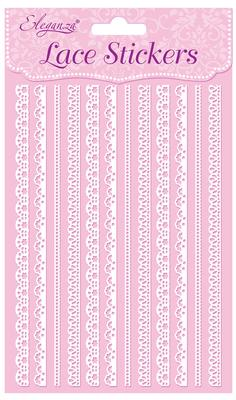 Eleganza Lace Stickers Edging Selection x 12 Strips White No.01 - Craft