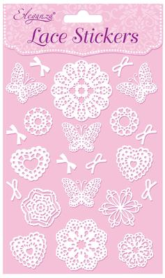Eleganza Lace Stickers Pattern Selection B White No.01 - Craft