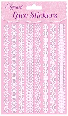 Eleganza Lace Stickers Pattern Selection C White No.01 - Craft