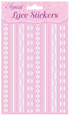 Eleganza Lace Stickers Pattern Selection D White No.01 - Craft