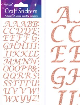 Eleganza Craft Stickers Stylised Alphabet Set Rose Gold No.87 - Craft