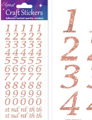Eleganza Craft Stickers Stylised Number Set Rose Gold No.87 - Craft