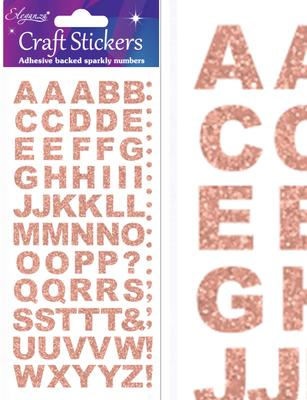 Eleganza Craft Stickers Bold Alphabet Set Rose Gold No.87 - Craft