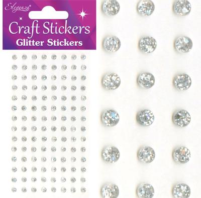 Eleganza Craft Stickers 4mm 112 Glitter gems Silver No.24 - Craft