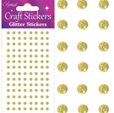 Eleganza Craft Stickers 4mm 112 Glitter gems Gold No.35 - Craft