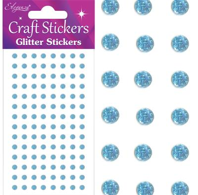Eleganza Craft Stickers 4mm 112 Glitter gems Lt. Blue No.25 - Craft