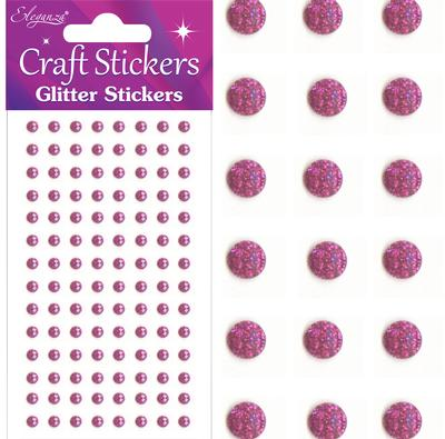 Eleganza Craft Stickers 4mm 112 Glitter gems Fuchsia No.28 - Craft