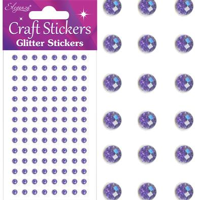 Eleganza Craft Stickers 4mm 112 Glitter gems Purple No.36 - Craft