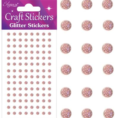 Eleganza Craft Stickers 4mm 112 Glitter gems Rose Gold No.87 - Craft
