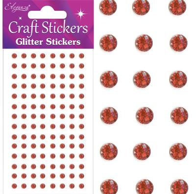 Eleganza Craft Stickers 4mm 112 Glitter gems Red  No.16 - Craft