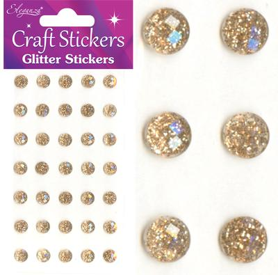 Eleganza Craft Stickers 8mm 35 Glitter gems Champagne No.64 - Craft