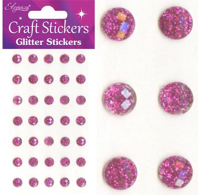 Eleganza Craft Stickers 8mm 35 Glitter gems Fuchsia No.28 - Craft