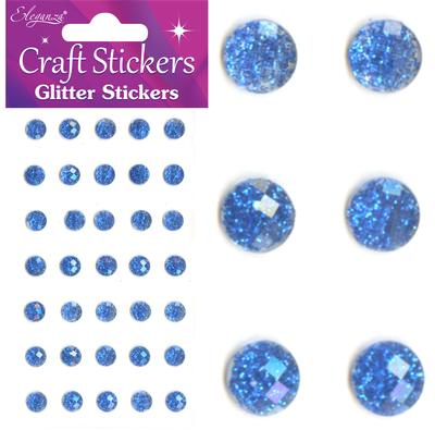 Eleganza Craft Stickers 8mm 35 Glitter gems Royal Blue No.18 - Craft